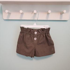 Zara Baby Girl Olive Paperbag Shorts
